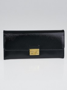 Prada Black Saffiano Vernice Leather Wallet 1M1037