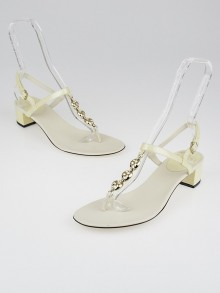 Gucci White Patent Leather Chain Thong Sandals Size 10