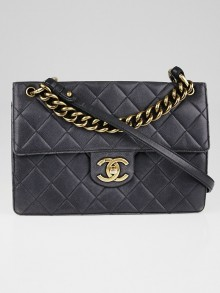 Chanel Black Quilted Caviar Leather Retro Class Jumbo Flap Bag