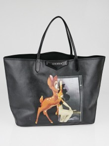 Givenchy Black Coated Canvas Bambi Antigona Large Tote Bag