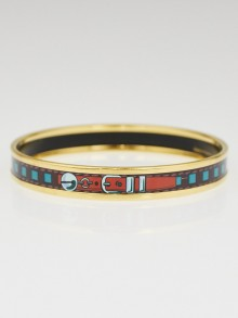 Hermes Blue/Brown Printed Palladium Plated Enamel Narrow Bangle Bracelet