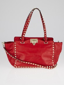 Valentino Red Leather Rockstud Trapeze Small Tote Bag