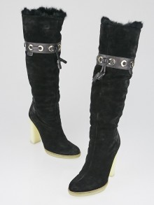 Gucci Black Suede and Alpaca Fur Trim Boots Size 8.5