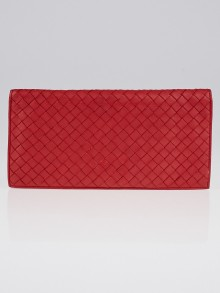 Bottega Veneta Fraise Intrecciato Woven Nappa Leather Long Wallet