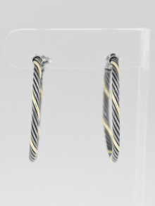 David Yurman Sterling Silver Cable Medium Hoop Earrings