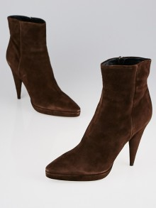 Prada Brown Suede Platform Ankle Boots Size 8.5/39