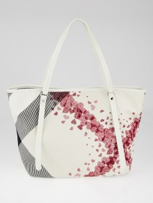 Burberry White/Red Confetti Heart Canvas Medium Cantley Tote Bag
