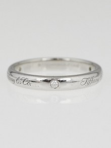 Tiffany & Co. 3mm Platinum and Diamond Tiffany Notes Ring Size 5.5