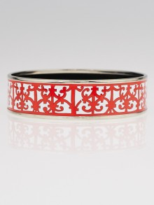 Hermes Red and white Printed Enamel Palladium Plated Wide Bangle Bracelet