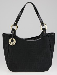 Fendi Black Zucca Print Canvas and Patent Leather Tote Bag 8BH156