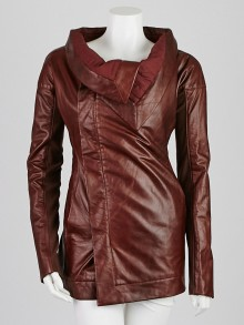 Rick Owens Bordeaux Lambskin Leather Jacket Size 8/42