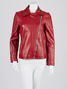 Gucci Red Lambskin Leather Jacket Size 10/44