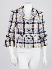Chanel Off-White Multicolor Tweed Jacket Size 6/38