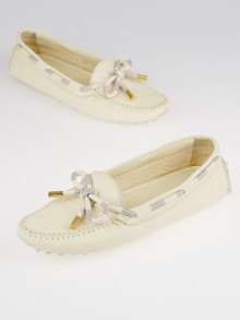 Louis Vuitton White Leather and Damier Azur Canvas Jersey Loafers Size 6.5/37