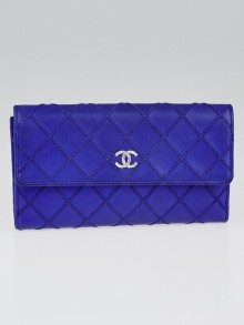 Chanel Royal Blue Stitch Quilted Leather Long Flap Wallet