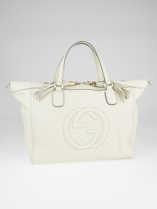 Gucci White Pebbled Leather Large Soho Tote Bag
