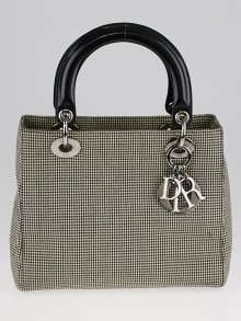 Christian Dior Houndstooth Print Canvas Medium Lady Dior Bag