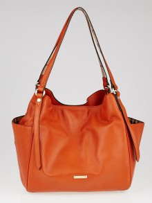 Burberry Orange Leather Panels Small Canterbury Tote Bag