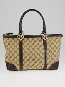 Gucci Beige/Ebony GG Canvas Lovely Heart-Shaped Interlocking G Small Tote Bag