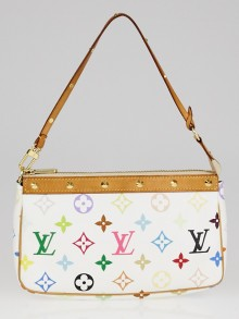 Louis Vuitton White Monogram Multicolore Accessories Pochette Bag