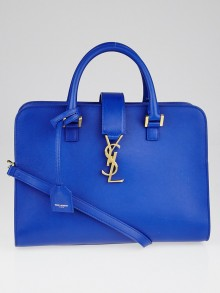 Yves Saint Laurent Blue Calfskin Leather Small Monogram Cabas Bag
