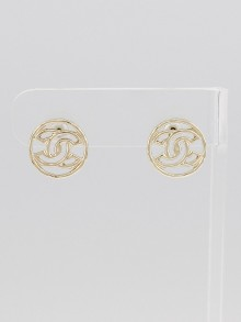 Chanel Goldtone CC Disc Earrings