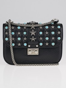 Valentino Black Pebbled Leather Star Rockstud Lock Small Flap Bag