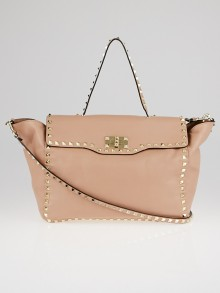 Valentino Taupe Leather Rockstud Satchel Bag