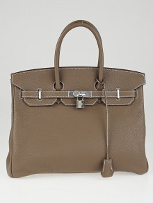 Hermes 35cm Etoupe Clemence Leather Palladium Plated Birkin Bag