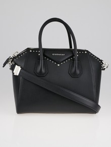 Givenchy Black Smooth Calfskin Leather Studded Small Antigona Bag