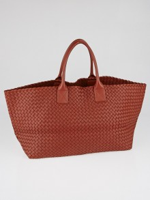 Bottega Veneta Rust Intrecciato Woven Nappa Leather Large Cabat Tote Bag