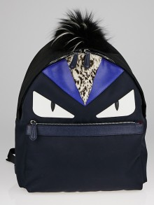 Fendi Black Nylon and Leather Monster Eyes Backpack Bag 7VZ012