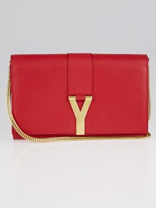 Yves Saint Laurent Red Smooth Calfskin Leather Classic Y Chain Wallet Crossbody Bag