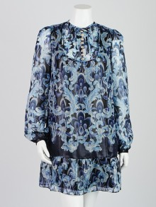 Emilio Pucci Blue Printed Silk Blend Long Sleeve Dress Size 8/42