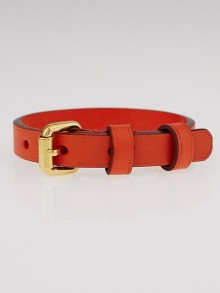 Louis Vuitton Orange Leather Stamp It Bracelet