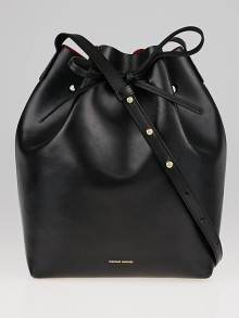 Mansur Gavriel Black/Flamma Vegetable Tanned Leather Bucket Bag