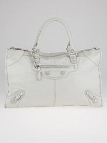 Balenciaga Gris Glace Lambskin Leather Giant 12 Silver Work Bag