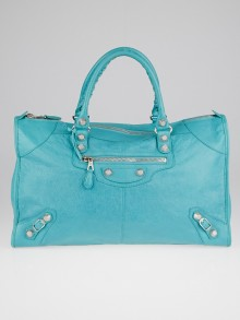 Balenciaga Bleu Tropical Lambskin Leather Giant 12 Silver Work Bag