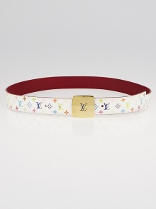 Louis Vuitton 30mm White Monogram Multicolore LV Cut Reversible Belt Size 85/34