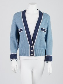 Chanel Blue Cashmere Cardigan Sweater Size 8/40