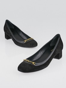 Gucci Black Suede Leather Charlot Mid-Heel Size 6.5/37