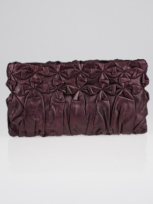 Prada Lampone Mord Diamond Pleated Royal Calf Leather Pochette Clutch Bag BP0203