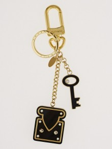 Louis Vuitton Black Enamel Lock Key Holder and Bag Charm