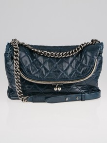 Chanel Blue Quilted Calfskin Leather Kisslock Fold-Over Shoulder Bag