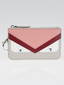 Fendi Pink Vitello Elite Leather Monster Eyes Pochette Cles Key and Change Holder