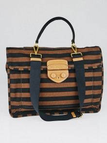 Prada Black/Brown Canapa Stripe Canvas Pattina Satchel Bag BN2120