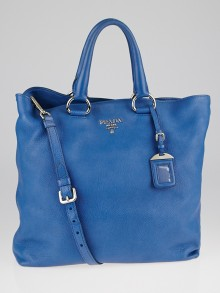 Prada Blue Cervo Lux Large Shopping Tote Bag