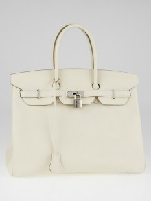 Hermes 35cm Craie Epsom Leather Palladium Plated Birkin Bag