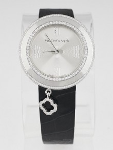 Van Cleef & Arpels 18k White Gold and Diamond 38mm Charms Quartz Watch