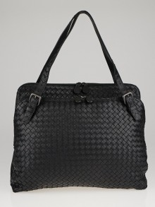Bottega Veneta Black Intrecciato Woven Nappa Leather Briefcase Bag